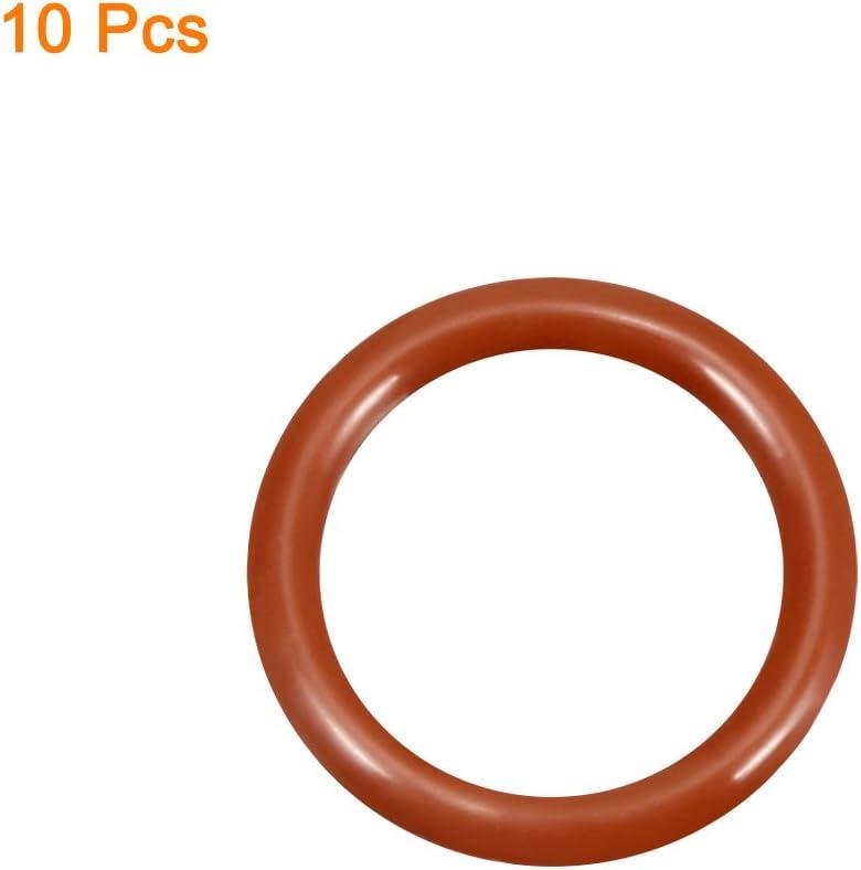 8 mm Junta de sellado de silicona 8mmx2.4mm color rojo 32 mm de di/ámetro exterior anillos de sellado Sourcingmap