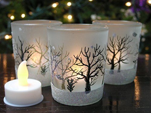 BANBERRY DESIGNS Glittery Winter Trees and Snow Set of 3 Frosted Glass Tealight Candle Holders with Three Flameless Flickering LED Candles Included