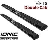 Ionic Voyager Plus Black Running Boards 2007-2018 Chevy Silverado GMC Sierra Double Cab