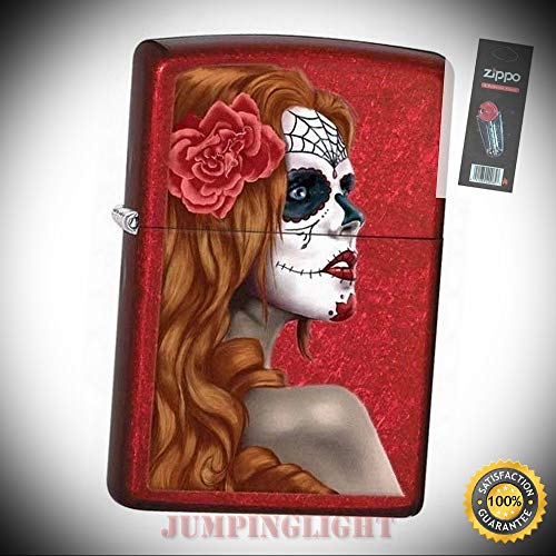 28830 Day of The Dead Zombie Woman Candy Apple red Lighter with Flint Pack - Premium Lighter Fluid (Comes Unfilled) - Made in ()