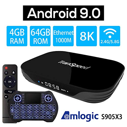 Android 9.0 TV Box 4GB 64GB, Amlogic S905X3 3D 4K/8K with Mini Keyboard H265 Streaming Media Player HDMI (Cost-Effective)