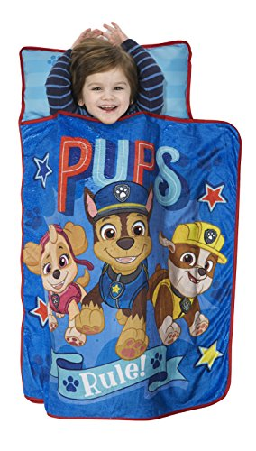 Paw Patrol We're A Team Toddler Nap Mat - Includes Pillow & Fleece Blanket - Great for Boys and Girls Napping at Daycare, Preschool, Or Kindergarten - Fits Sleeping Toddlers and Young Children -