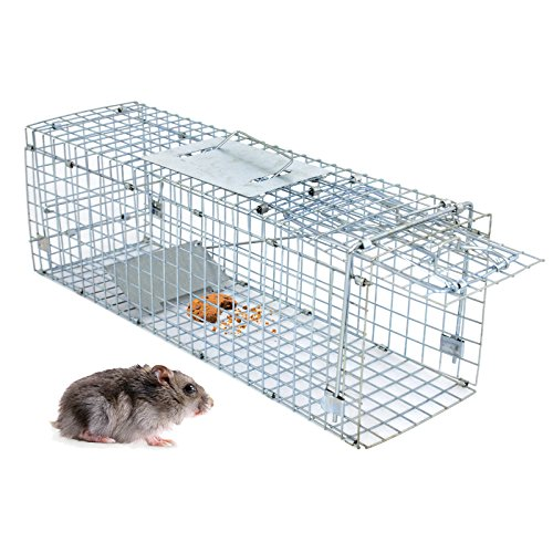"""Review Smartxchoices 24"""" Long Live Animal Trap Steel Catch and Release Humane Rodent Cage for Rabbits/Stray Cats/Squirrel/Skunk/Mink/Chicken/Opossum Outdoor Professional Style (24 in x 8 in x 7.5 in)"""
