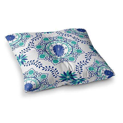 KESS InHouse Anneline Sophia Let's Dance Blue Teal Aqua Square Floor Pillow x 23'' by Kess InHouse