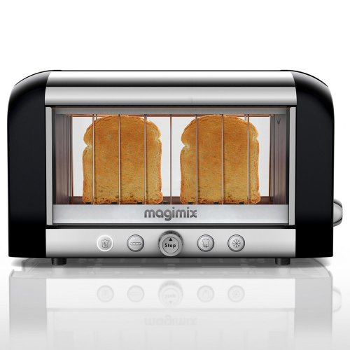 Cool modern toaster with glass sides so you can see the toast toasting. I'm amazed this design didn't come out earlier. It's an easy way to see if your toast is done.
