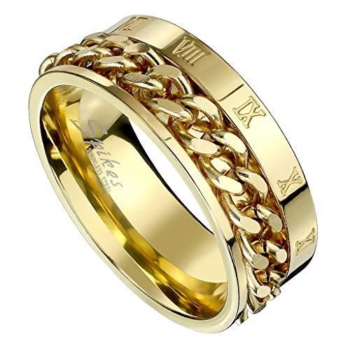 Piersando Herren Biker Ring Ketten Style Spinner Ring mit Römischen Zeichen