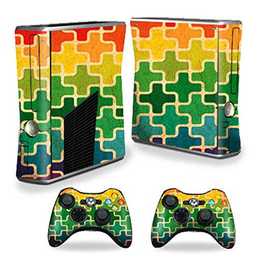 Mightyskins Protective Vinyl Skin Decal Cover for Microsoft Xbox 360 S Slim + 2 Controller skins wrap sticker skins Color - Swatch S