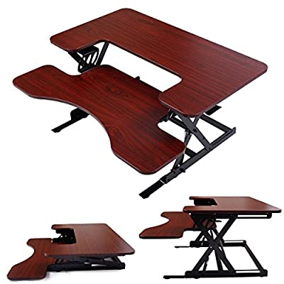 New Portable Adjustable Height Stand Up Desk Computer Workstation Lift Rising Laptop Brown #126