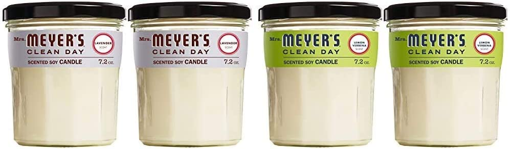 Mrs. Meyer's Clean Day Scented Soy Aromatherapy Candle Bundle, 35 Hour Burn Time, Made with Soy Wax, Lavender and Lemon Verbena Scent, 7.2 oz Jars (4 Candles Total)