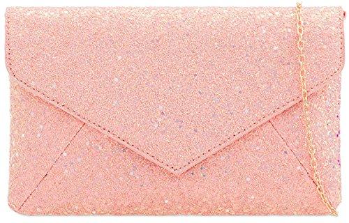 Envelope Bag Bridal Glitter Ladies Clutch Pink Evening Satin Handbag AwpgpqEaF