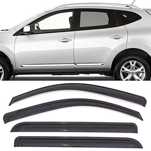 Window Visor fits 2009-2013 Nissan Rogue & 2014-2017 Rogue S | Acrylic Unpainted Black Sun Rain Shade Guard Wind Vent Air Deflector by IKON MOTORSPORTS | 2010 2011 2012 - Wind Vent