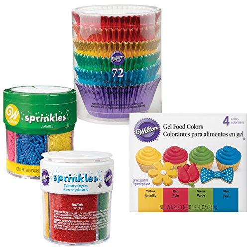 - Wilton Metallic Cupcake Decorating Kit - 72 Metallic Cupcake Liners, Set of 4 Primary Icing Colors, Jar of 4 Colored Sugars and Jar of 6 Colored Jimmies Sprinkles