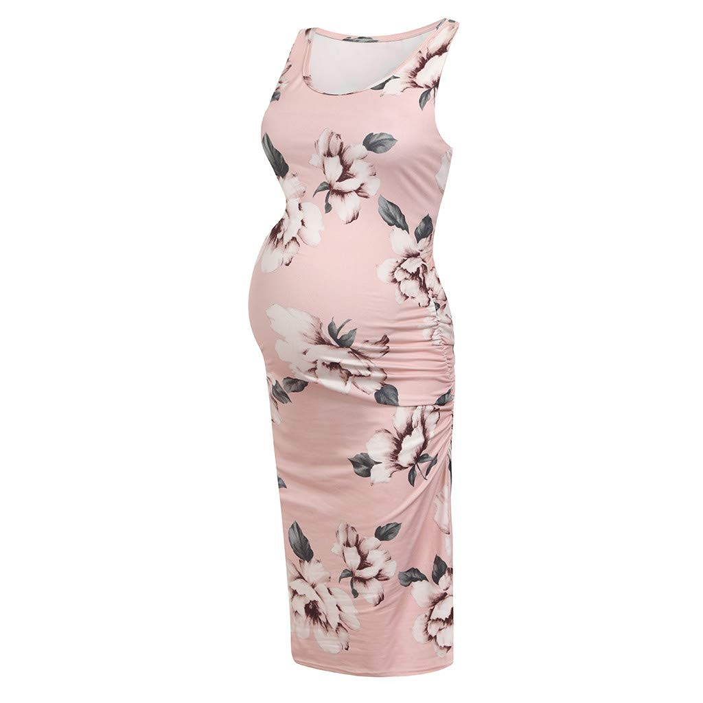 Women's Maternity Sleeveless Floral Ruched Sides Dresses Maternity Tank Dress Mama Baby Shower Pregnancy Dress Pink