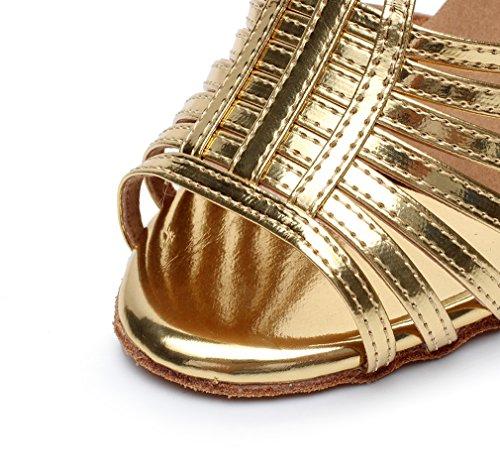 Ballroom Dance Stiletto Shoes M Salsa Women's US Latin Heel Minishion High Gold 10 QJ6216 qYSwzH