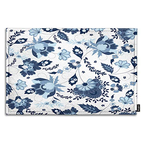 Mugod Blue Flower Indoor/Outdoor Doormat Indian Jacobean for sale  Delivered anywhere in Canada