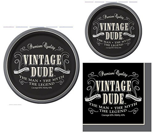Vintage Dude the Man the Myth the Legend Party Pack for 16