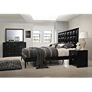 Roundhill Furniture B350PQDMN Gloria 350 Black Finish Wood Bed Room Set, Queen Bed, Dresser, Mirror, Night Stand