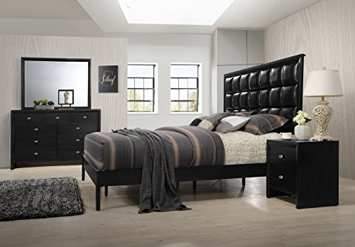 Roundhill Furniture B350PQDMN Gloria 350 Black Finish Wood Bed Room Set, Queen Bed, Dresser, Mirror, Night Stand by Roundhill Furniture