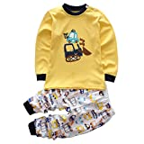 Toddler Boy Clothes Sets Baby Outfits Infant Pajamas Long Sleeve Shirt Pants Cars Yellow, 3T