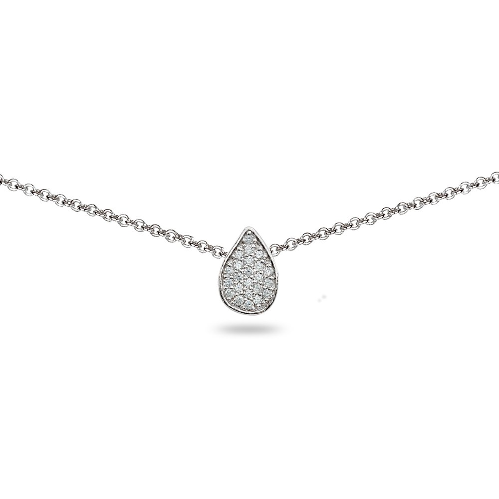 Sterling Silver Cubic Zirconia Teardrop Pave Dainty Choker Necklace by GemStar USA (Image #1)