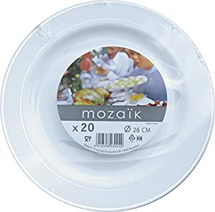 Good quality and design arrived via prime on time. . Would recommend only draw back you need to wash up.  sc 1 st  Tableware Reviews & Mozaik 20 Rim Plastic Plates 26cm : Good dinner plate size ...