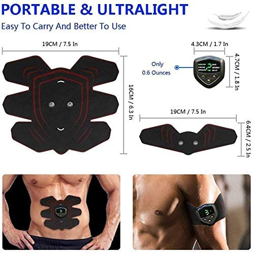 Abs Stimulator Muscle Stimulator, Protable Ab Trainer Muscle Toner Electric Abs Belt Workout Equipment Slendertone Ab Machine Workout Gear for Men Women, Free Gel Pads 6