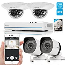 Zmodo 8CH 1080p HDMI Digital NVR Home Security Camera System with 2x Outdoor + 2x Indoor Dome Surveillance Camera 500GB Hard Drive