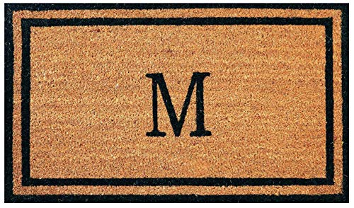 Envelor Doormat Outdoor Welcome Coir Monogrammed M Non Slip Personalized Shoe Scraper Floor 18 x 30 Inches Door Mat