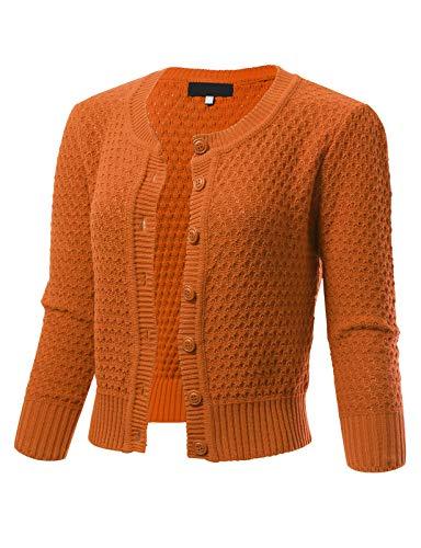 - Womens Button Down 3/4 Sleeve Crewneck Cropped Knit Cardigan Crochet Sweater XL Light Orange