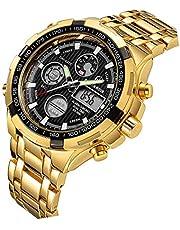 Relojes para Hombre de Lujo de la Manera Reloj cronógrafo Pesado del Deporte del Acero Inoxidable Alarma de la Fecha Impermeable Reloj análogo Multifuncional de Digitaces