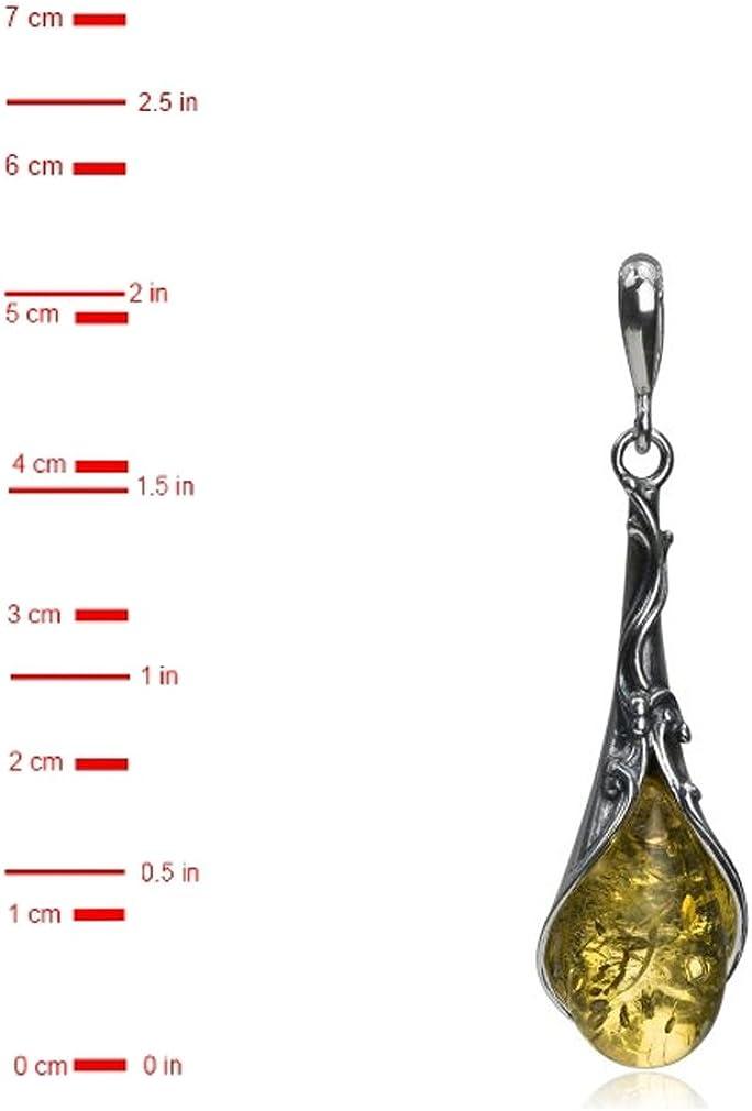 Sterling Silver Light Amber Drop Filigree Pendant