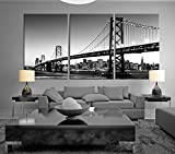 painting of san francisco - Black & White Large Art San Francisco Skyline and Bay Bridge At Sunset, California Canvas Print, Extra Large Skyline San Francisco Wall Art Print 20x30 Inch Each Panel
