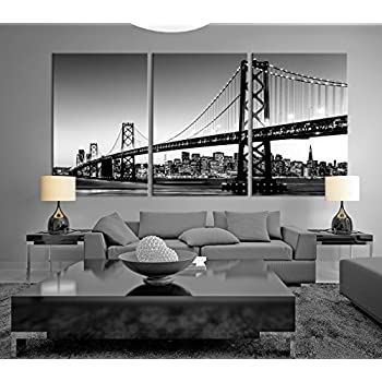 Great Black U0026 White Large Art San Francisco Skyline And Bay Bridge At Sunset,  California Canvas