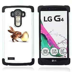 BullDog Case - FOR/LG G4 H815 H810 F500L / - / Bunny & Egg /- H??brido Heavy Duty caja del tel??fono protector din??mico - silicona suave