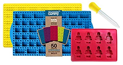 The Modern Gummy 50 Cavity Building Block Mold with Base Plate Lid that creates STACKABLE CANDY you can build with!