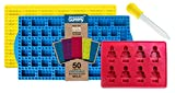 (US) New STACKING 50 Cavity Building Block Candy Mold + Base Plate Style LID + Figure Mold + Dropper + Recipe PDF by the Modern Gummy | Patent Pending Molds Made with PURE LFGB Silicone for fans of LEGO