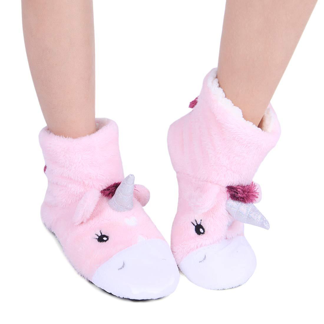 ChicNChic Women Cute Cartoon Unicorn Slipper Socks Non-Slip Bootie Slipper Socks Lightweight Indoor Slippers Christmas Gift (6-6.5 B(M) US, Pink)