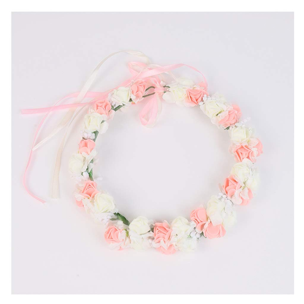 Wreath Flower Girl Hair Accessories Tiara Hair Band Princess Accessories Children's Dress Pink Garland