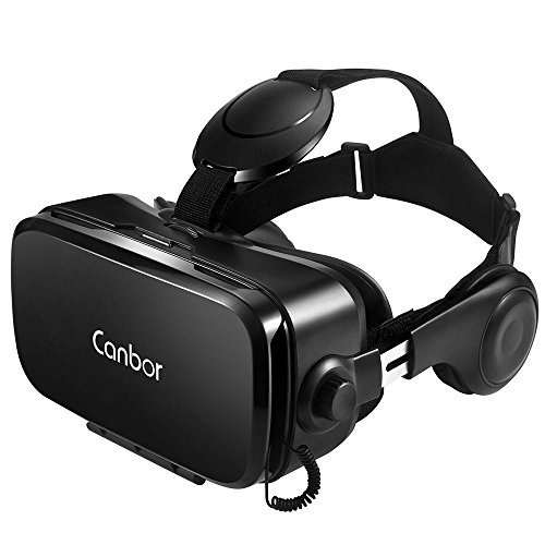Canbor VR Headset, Virtual Reality Headset 3D VR Goggles Glasses with HD Stereo Headphones FOV 120 for 4.7-6.2 Inches Apple iPhone, Samsung HTC More Smartphones by Canbor