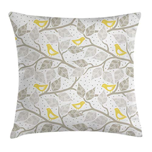 """Ambesonne Grey Throw Pillow Cushion Cover, Birds on The Branch with Pastel Leaves on Dotted Background Nature Art, Decorative Square Accent Pillow Case, 18"""" X 18"""", White Yellow"""