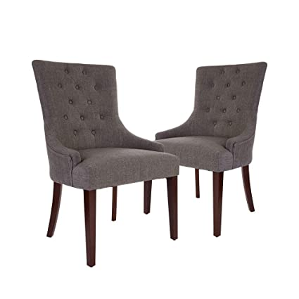 Amazoncom Glitzhome Fabric Dining Chairs With Tufted Back Dark