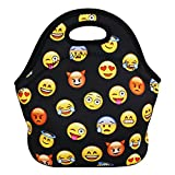 Violet Mist Neoprene Lunch Bag Reusable Insulated School Picnic Thermal Carrying Gourmet Lunchbox Lunch Tote Container Organizer for Men, Women, Adults, Kids, Girls, Boys, Emoji Black