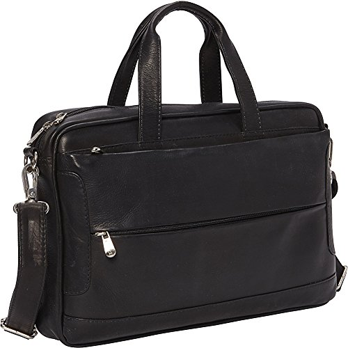 Piel Hidden Pocket Laptop Briefcase (Black) by Piel Leather