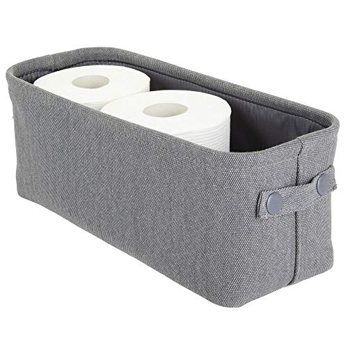mDesign Soft Cotton Fabric Bathroom Storage Bin with Coated Interior and Attached Handles - Organizer for Towels, Toilet Paper Rolls - for Back of Toilet, Cabinets, and Vanities - Charcoal Gray