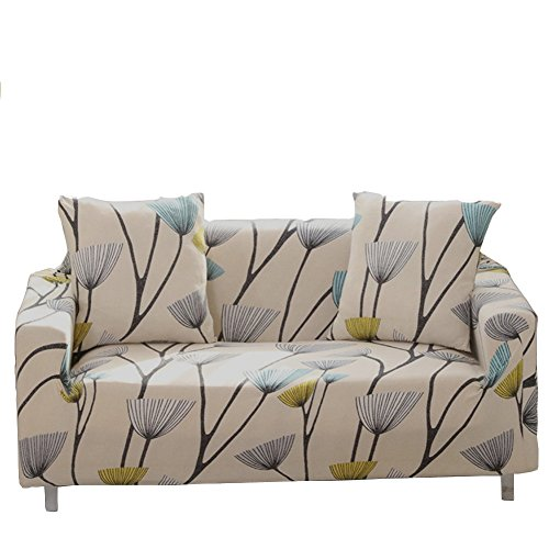 ENZER Stretch Sofa Slipcover Flower Bird Pattern Chari Loverseat Couch Cover Elastic Fabric Kids Pets Protector (4 Seater, Dandelion)