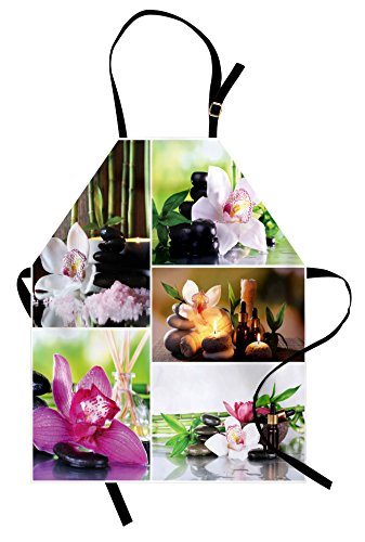Lunarable Spa Apron, Spa Day Collage with Orchids Stone Pebbles Natural Herbal Oils Body and Mind Treatment, Unisex Kitchen Bib Apron with Adjustable Neck for Cooking Baking Gardening, Multicolor by Lunarable (Image #3)