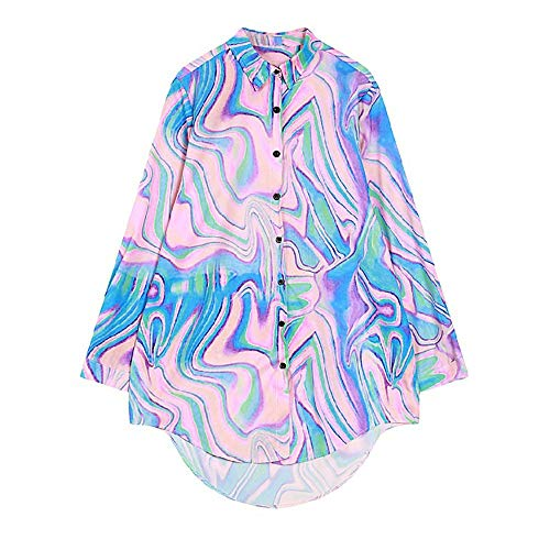 Women New Harajuku Multicolor Swirl Color Super-Dazzle Long Sleeve Shirt Buttons Turn-Down Neck (M, Multicolor)