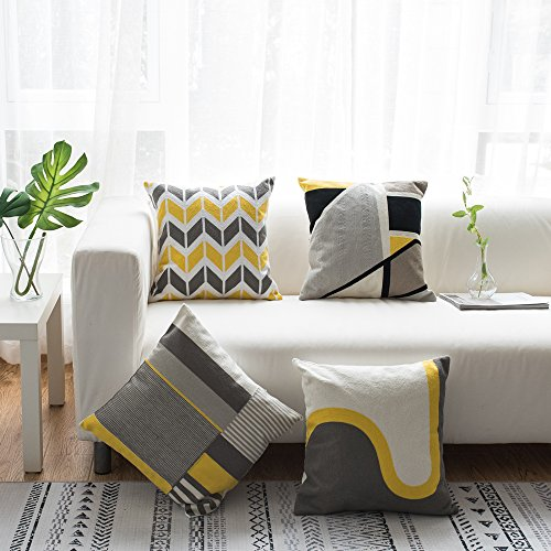 Lananas Modern Decorative Throw Pillow Covers for Couch Geometric Home Cushion Pillow Cover for Bed 18'' x 18'' (Slash) by Lananas (Image #6)