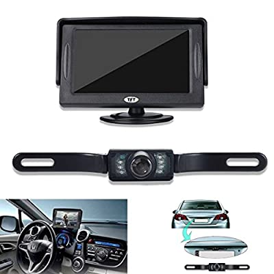 Backup Camera and Monitor Kit for Car, GerTong Universal Waterproof Rear View License Plate Car Backup Camera with 4.3 Inches LCD Monitor