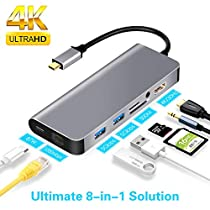 USB C Hub, LC-dolida Type C to HDMI 4K Adapter with 2 USB 3.0 Ports SD/TF Card Reader
